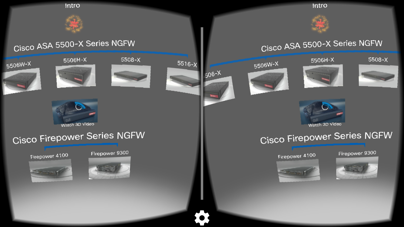 cisco virtual reality app menu